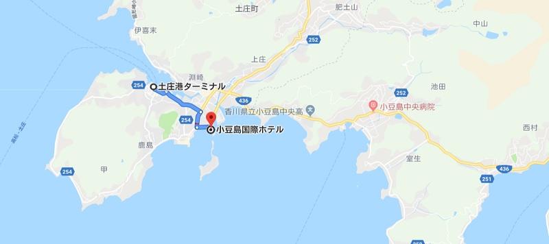 土庄港から小豆島国際ホテル